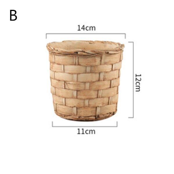 Bamboo Weave Patten Concrete Flowerpot