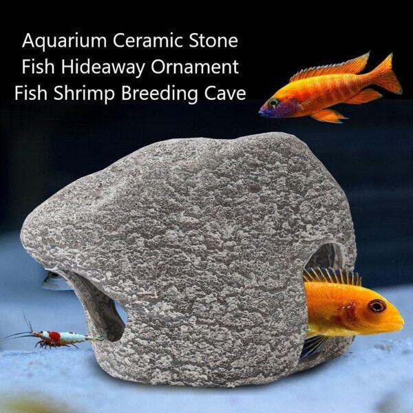Aquarium Ceramic Stone Fish Hideaway Ornament Fish Shrimp Breeding Cave