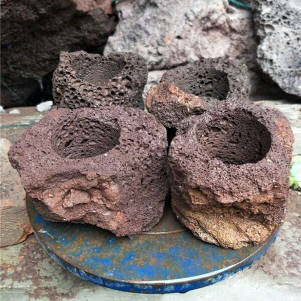 Lava stone flower pot