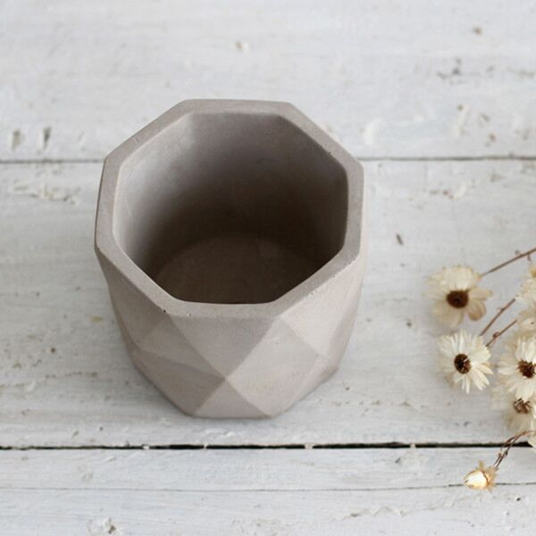 Concrete Geometric Plant Pot Grey